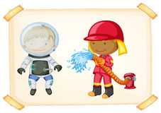 Astronaut and firefighter. Illustration of an astronaut and a firefighter Stock Image