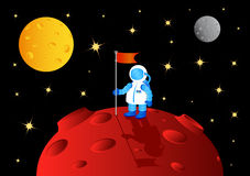 Astronaut with flag Stock Image