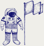 Astronaut and flag Stock Photos