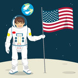 Astronaut With Flag Royalty Free Stock Photo