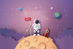 Astronaut with Flag on the moon. Paper art and digital craft style stock illustration