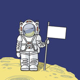 Astronaut with flag on planet Stock Photography