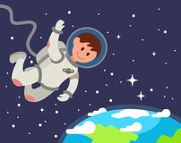 Astronaut float in space. Vector flat illustration Stock Photo
