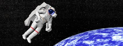 Astronaut looking at the earth - 3D render. Astronaut floating in black background for space and looking at the earth - Elements of this image furnished by NASA Royalty Free Stock Image