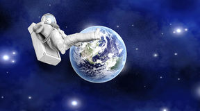 Astronaut floating far from Earth. A Astronaut floating over the earth. 3D illustration Royalty Free Stock Photo