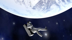 Astronaut floating far from Earth. A Astronaut floating over the earth. 3D illustration Royalty Free Stock Photography