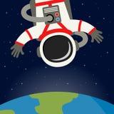 Astronaut Floating med jordbakgrund Royaltyfri Bild