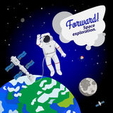 Astronaut floating in outer space icon Stock Photos