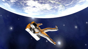 Astronaut floating over the Earth. A Astronaut floating over the earth. 3D illustration Royalty Free Stock Photos