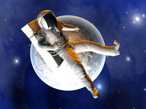 Astronaut floating over the Earth. A Astronaut floating over the earth. 3D illustration Royalty Free Stock Image
