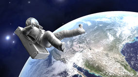 Astronaut floating over the Earth. A Astronaut floating over the earth. 3D illustration Stock Image