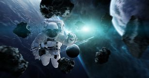 Astronaut floating in space 3D rendering elements of this image. Astronaut floating in space in front of planets 3D rendering elements of this image furnished by Royalty Free Stock Images