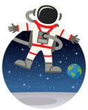 Astronaut Floating in the Space with Stars. A cartoon spaceman floating over a mysterious planet surface, on a circular dark blue outer space background with vector illustration