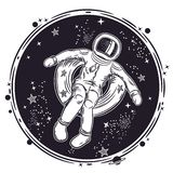 The astronaut floats in space on an inflatable circle. Vector illustration on a theme of astronomy. Round emblem. stock illustration
