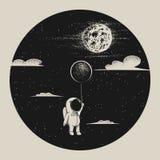 Astronaut fly to moon. Cute astronaut with balloon fly to moon.Strange night.Childish vector illustration royalty free illustration