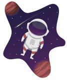 Astronaut Flying in een Melkweg royalty-vrije stock afbeeldingen