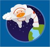 Astronaut flying forward. Flat illustration. Stock Photography