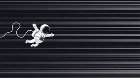 Astronaut flying on light speed. Illustration of cartoon astronaut flying on light speed in space Stock Photos
