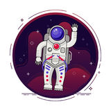 Astronaut is flying in outer space concept vector illustration in flat design with lines elements. Stock Image