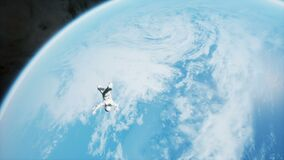 An astronaut is flying in outer space and falls on an unknown blue planet. Animation for fantasy, futuristic or space