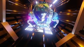 Astronaut flying in the spaceship corridor. Sci-Fi futuristic space tunnel VJ for background and titles. Looped space