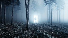Astronaut in fog night forest. Light portal door. landing place. 4K animation.