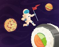 Astronaut on food planet. Fantasy space world with candy fast food burger pizza and various sweets stars fantastic sky royalty free illustration