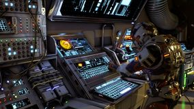 Astronaut of the future presses the keys on sci-fi screen. Realistic motion background. stock illustration
