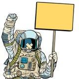 Astronaut with gag protesting. Isolate on white background. Astronaut with gag protesting for freedom of speech. Isolate on white background. Pop art retro stock illustration