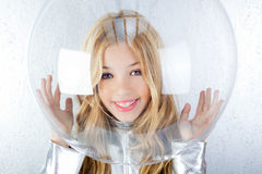 Astronaut girl with silver uniform Stock Images