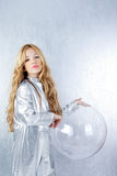 Astronaut girl with silver uniform Stock Photography