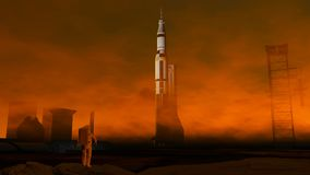 Astronaut on the ground of Mars. Colonization, space base Stock Photo