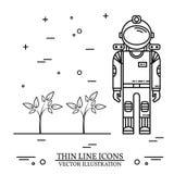 Astronaut grow plants on Mars. Stock Photo