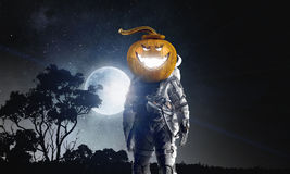 Astronaut Halloween character. Mixed media Royalty Free Stock Photo