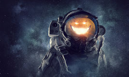 Astronaut Halloween character. Mixed media Royalty Free Stock Images