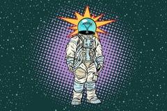 Astronaut head light bulb idea. Pop art retro vector illustration Stock Images