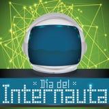 Astronaut Helmet über den Network Connections, zum des Internaut-Tages, Vektor-Illustration zu gedenken Lizenzfreies Stockfoto