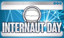 Astronaut Helmet über Netz und web browser für Internaut-Tag, Vektor-Illustration Lizenzfreies Stockbild