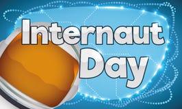 Astronaut Helmet über verbundenem Zeichen, Internaut-Tag, Vektor-Illustration zu feiern Stockfotos
