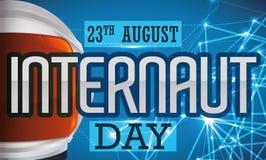 Astronaut Helmet, Anzeigen-Datum und glühendes Netz für Internaut-Tag, Vektor-Illustration Stockfotos