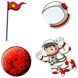 An astronaut, a helmet, a banner and a planet Stock Images