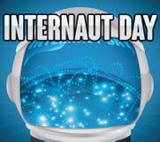 Astronaut Helmet Navegating im Cyberspace, zum des Internaut-Tages, Vektor-Illustration zu feiern Stockfotografie