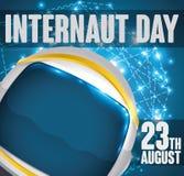 Astronaut Helmet Navigating im Cyberspace am Internaut-Tag, Vektor-Illustration Lizenzfreie Stockfotografie