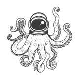 astronaut helmet with octopus tentacles. Design element for t-shirt print, poster. Vector illustration. vector illustration