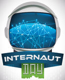 Astronaut Helmet Reflecting Network Connections and Ribbons for Internaut Day, Vector Illustration Stock Image