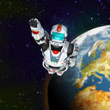 Astronaut hero - flying out of the planet stock illustration