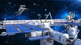 Astronaut het drijven boven ruimtestation, kosmonaut in ruimte met ruimtevaartuig en sterren op de 3D achtergrond, geeft terug Vector Illustratie