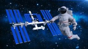 Astronaut het drijven boven ruimtestation, kosmonaut in ruimte met ruimtevaartuig op de 3D achtergrond, geeft terug Stock Illustratie