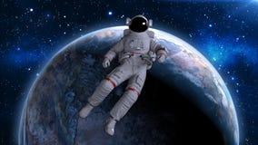 Astronaut het drijven terug boven aarde, kosmonaut die in ruimte afdrijven, 3D geeft terug Royalty-vrije Illustratie