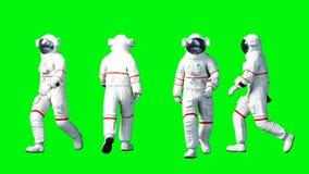 Astronaut het lopen Het groene scherm Realistische 4K animatie royalty-vrije illustratie